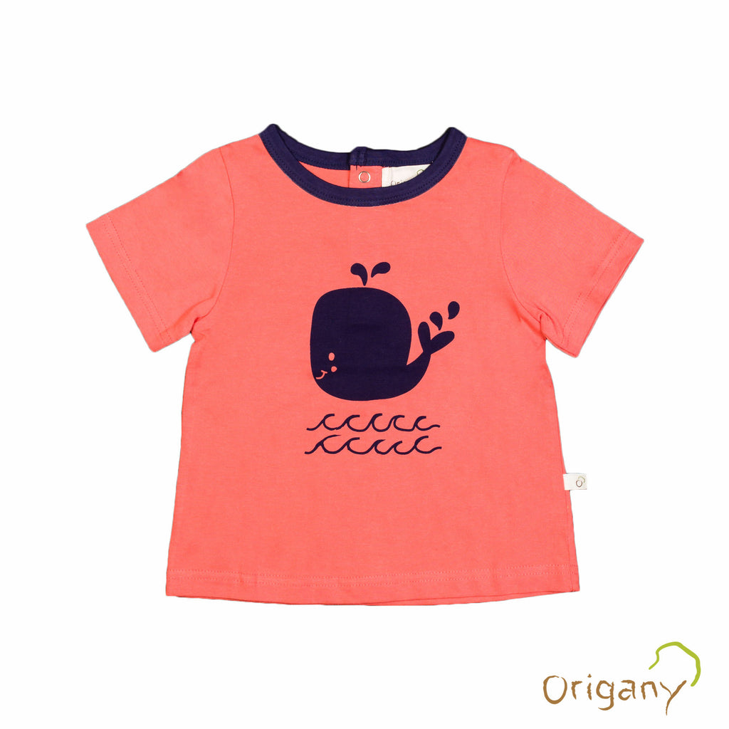 Organic Nautical Orange Placement Print Whale Top -