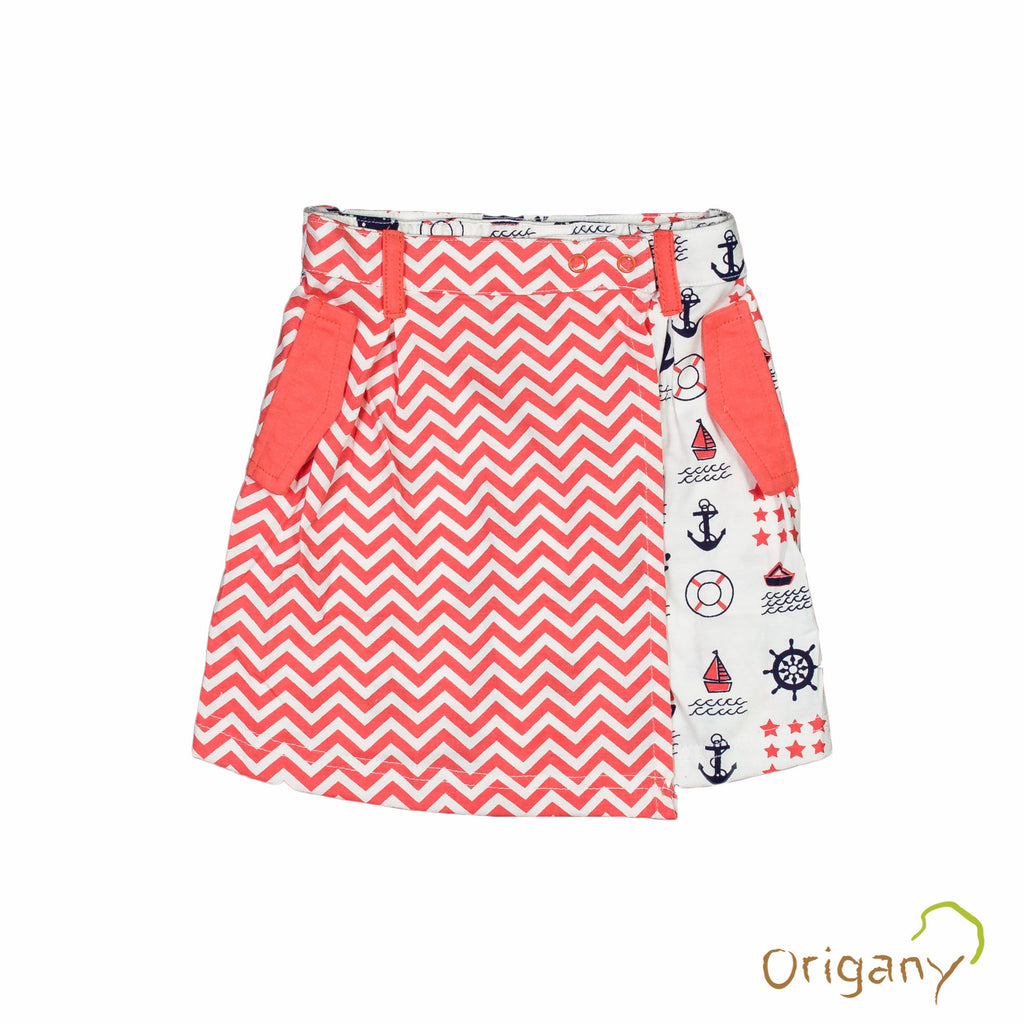 Organic Nautical Mixed Print Skort -