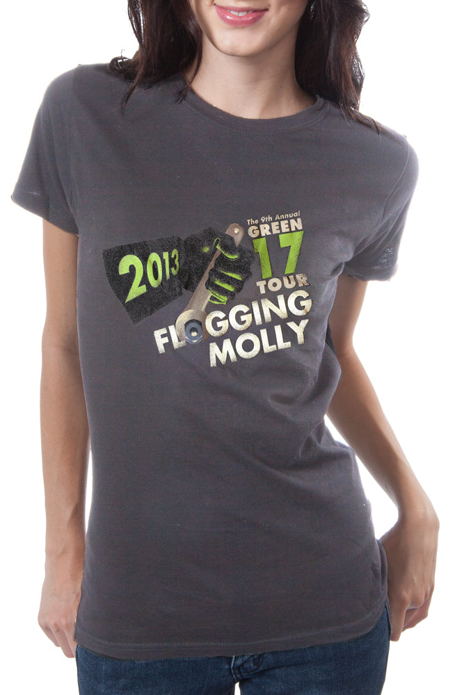 Flogging Molly 2013 Green Tour Tee Charcoal