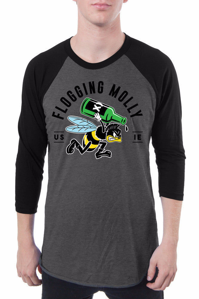 Flogging Molly Bee Raglan Arctic Grey Black