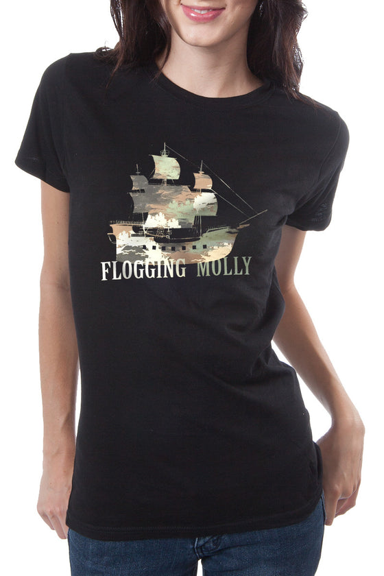 Flogging Molly Camo Ship Tee Black
