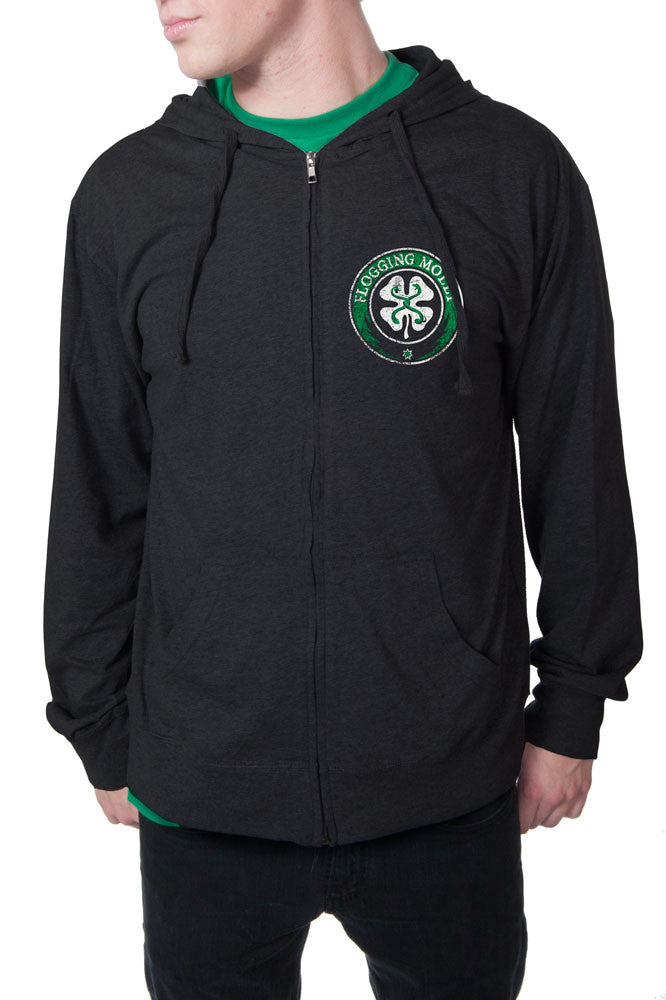 Flogging Molly Distressed Clover Zip Hoodie Black