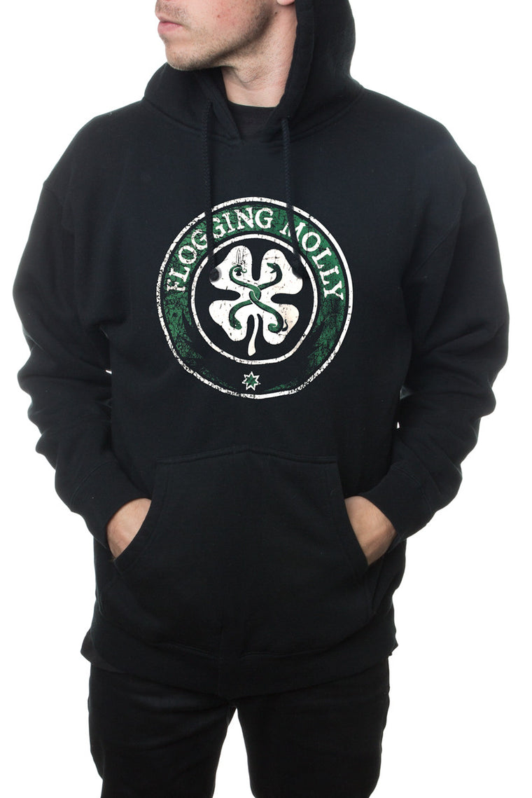 Flogging Molly Distressed Clover Pullover Hoodie Black