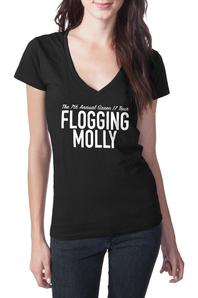 Flogging Molly Green Tour V-Neck Tee Black