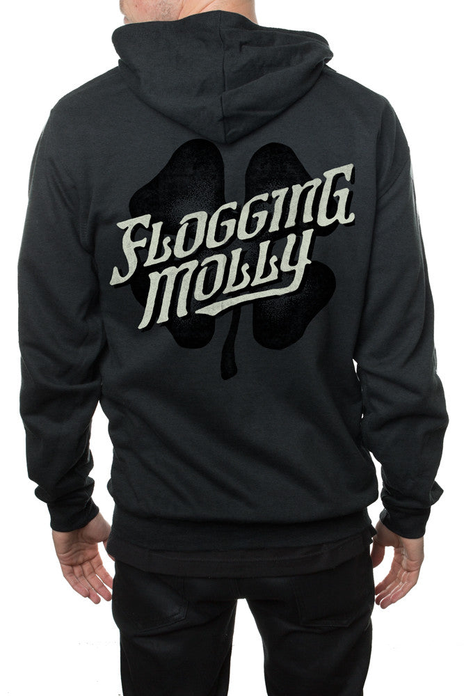 Flogging Molly Slant Zipper Hooded Sweatshirt Heather Charcoal