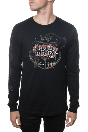Snake Crest Long Sleeve Tee Black