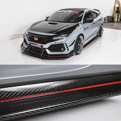 2017-2019 Honda Civic Side Skirt Extension (Civic Hatch/Sedan Type-R) Carbon Fiber - Aeroflowdynamics