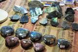 Polished Labradorite and Petrified Wood Hearts