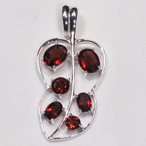 Faceted Garnet Sterling Silver Pendant Jewelry