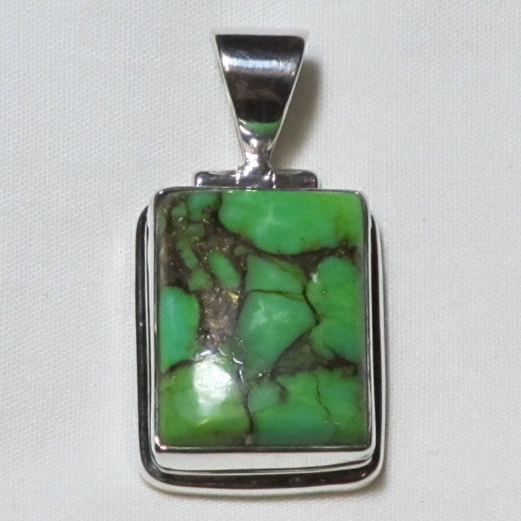 Gaspeite Gemstone Sterling Silver Pendant Jewelry