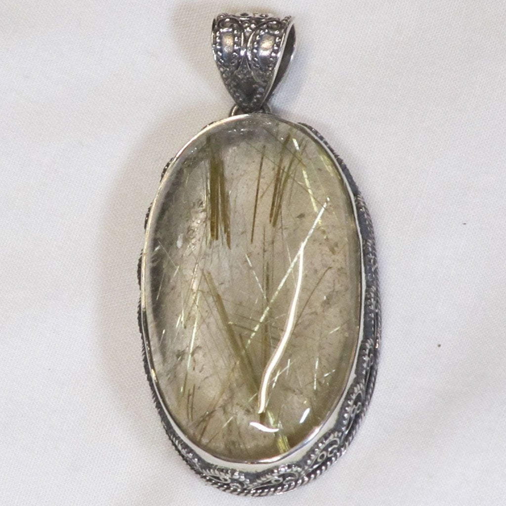 Gold Rutile in Smoky Quartz Crystal Sterling Silver Pendant Jewelry