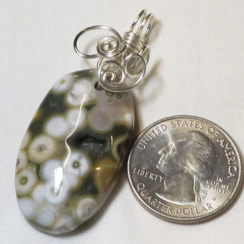 Wire Wrapped Ocean Jasper Pendant Jewelry