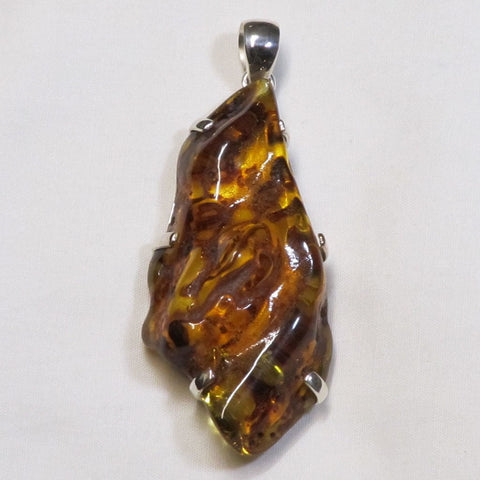 Baltic Amber Gemstone Sterling Silver Pendant Jewelry