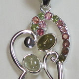 Tourmaline Sterling Silver Heart Pendant Jewelry