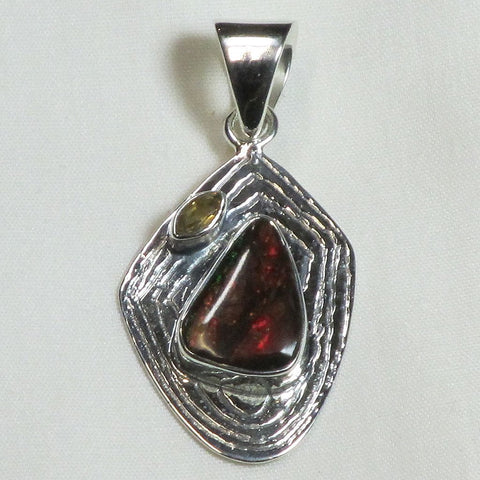Ammolite and Citrine Sterling Silver Pendant Jewelry