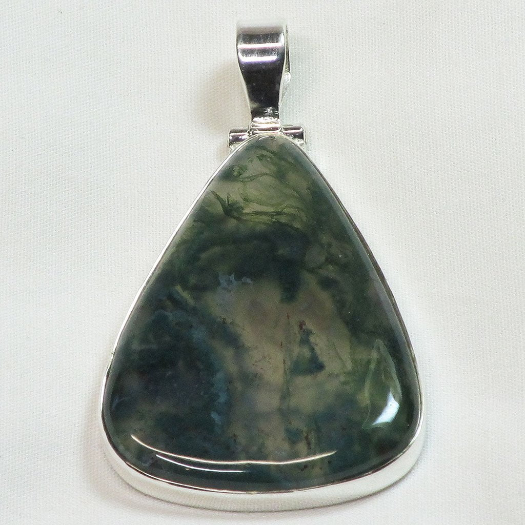 Moss Agate Sterling Silver Pendant Jewelry
