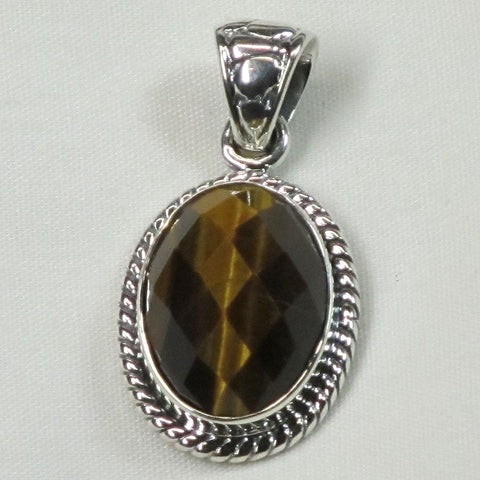 Faceted Tiger Eye Sterling Silver Pendant Jewelry