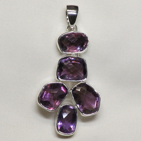 Faceted Amethyst Sterling Silver Pendant Jewelry