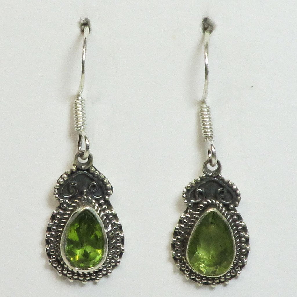 Faceted Peridot Sterling Silver Earrings Jewelry