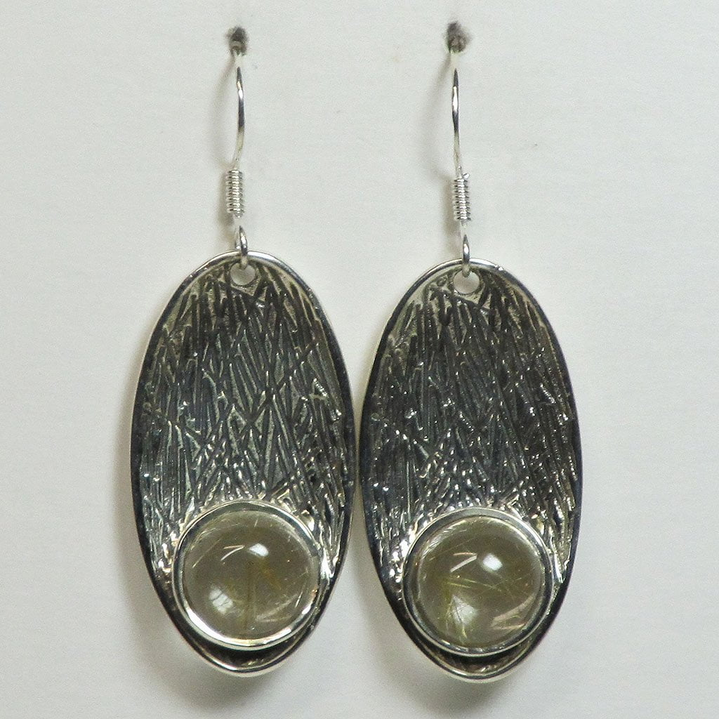 Rutile in Quartz Sterling Silver Earrings Jewelry