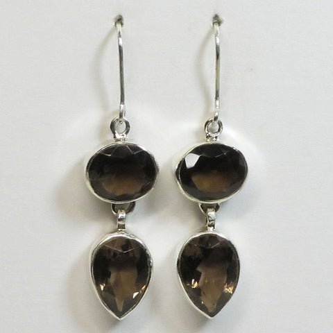 Faceted Smoky Quartz Sterling Silver Earrings Jewelry