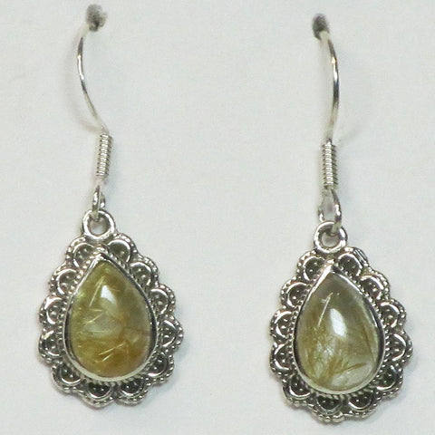 Gold Rutile in Quartz Sterling Silver Earrings Jewelry