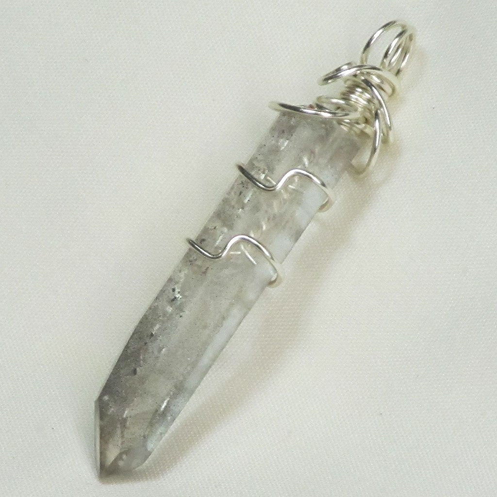 Wire Wrapped Aluminum Included Quartz Crystal Point Jewelry