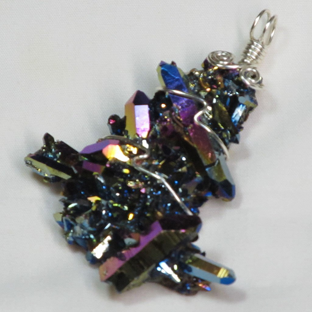 Rainbow Aura Quartz Crystal Cluster Wire Wrapped Pendant