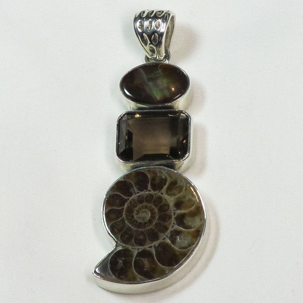 Ammonite & Smoky Quartz & Fire Agate Sterling Silver Pendant