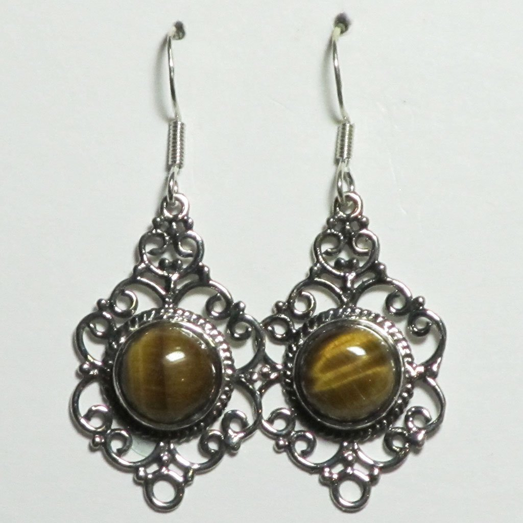 Tiger Eye Sterling Silver Earrings | Blue Moon Crystals
