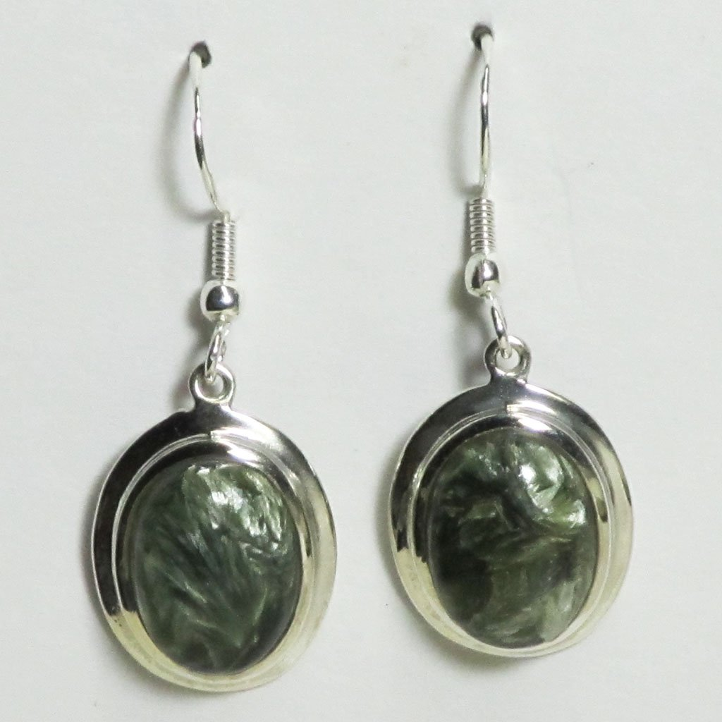 Seraphinite Sterling Silver Earrings | Blue Moon Crystals & Jewelry