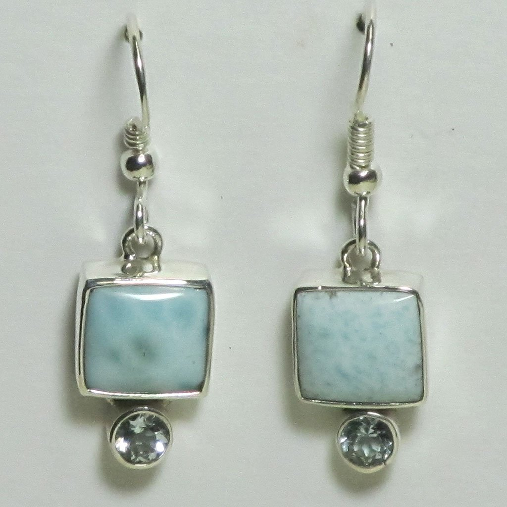 Larimar & Blue Topaz Sterling Silver Earrings | Blue Moon Crystals