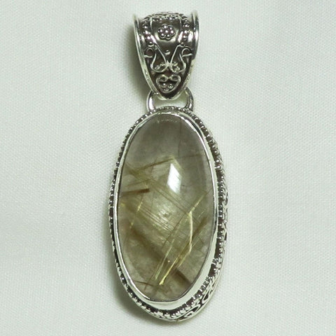 Rutile in Quartz Sterling Silver Pendant | Blue Moon Crystals