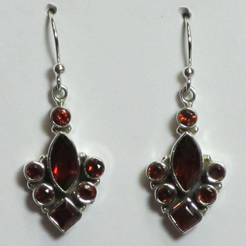 Faceted Garnet Sterling Silver Earrings | Blue Moon Crystals