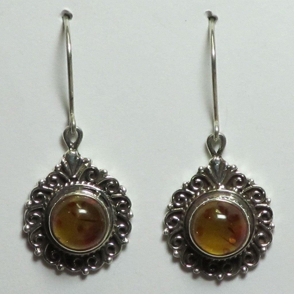 Amber Sterling Silver Earrings | Blue Moon Crystals & Jewelry