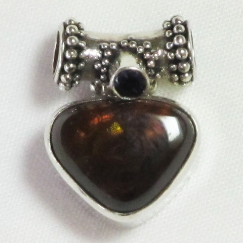 Fire Agate & Amethyst Sterling Silver Pendant