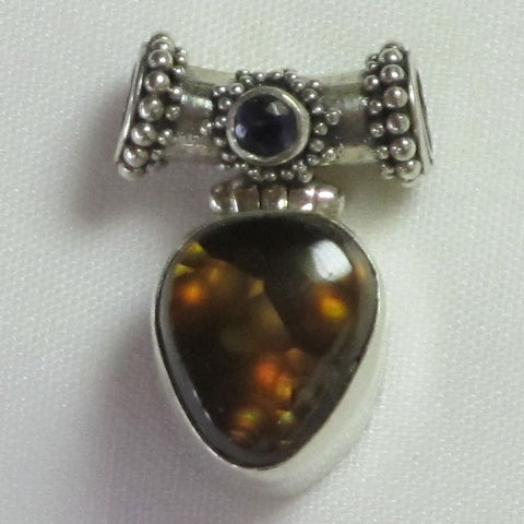 Fire Agate Sterling Silver Pendant