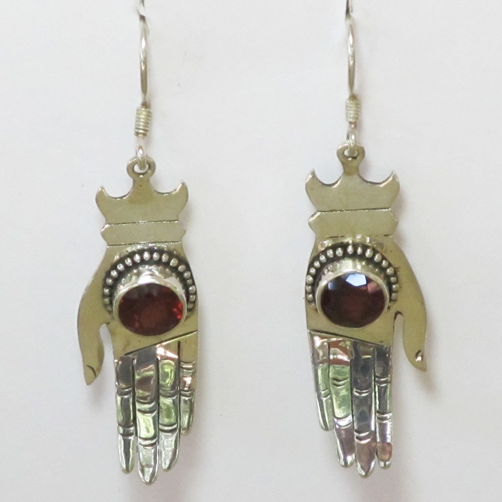 Garnet Healing Hands Sterling Silver Earrings