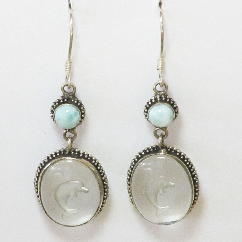 Carved Dolphin in Quartz & Larimar Sterling Silver Earrings