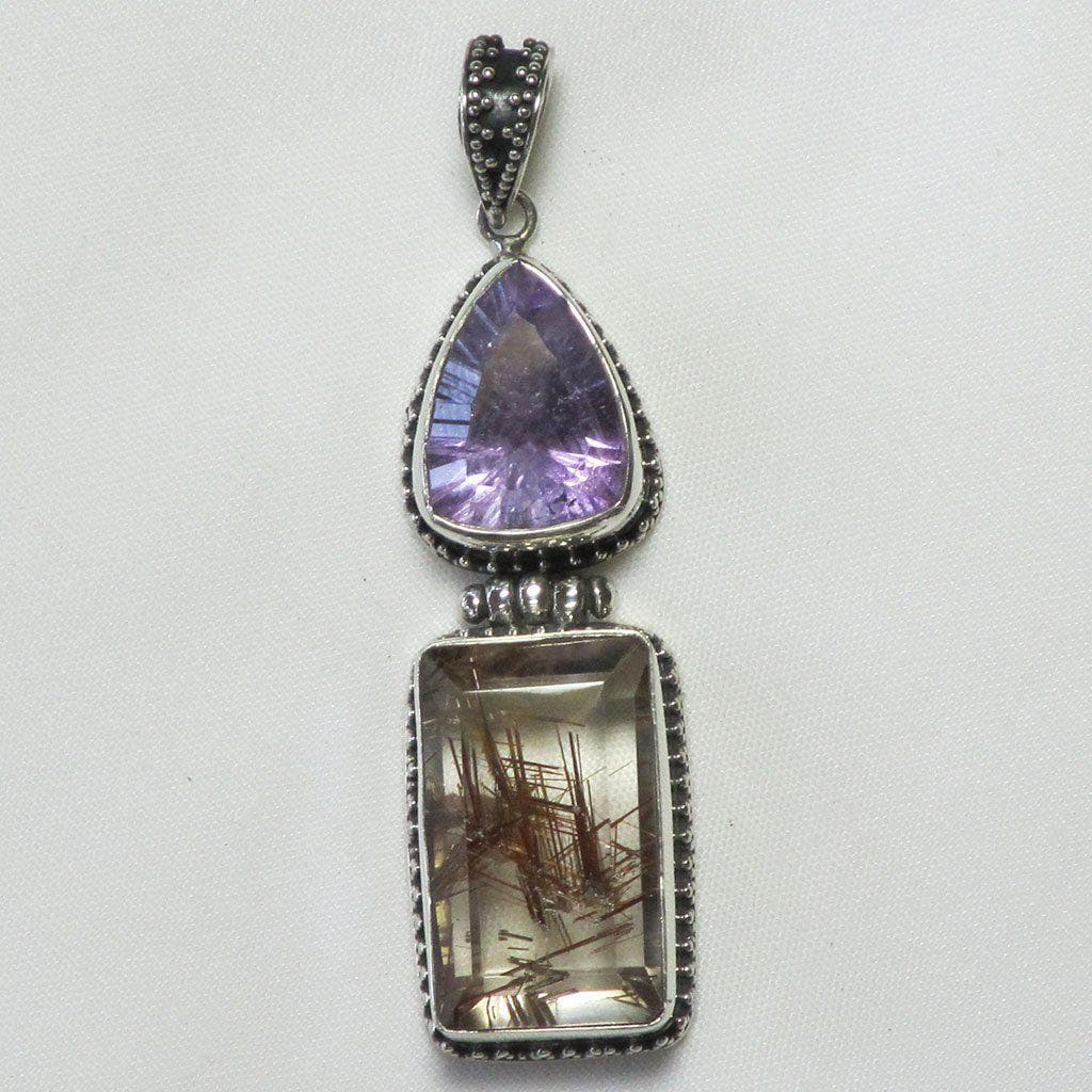 Rutilated Smoky Quartz & Amethyst Sterling Silver Pendant