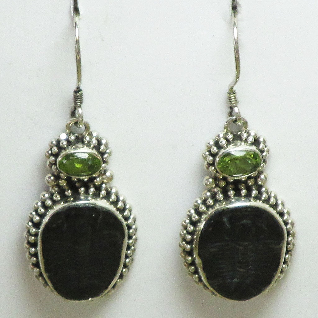 Trilobite Fossil & Peridot Sterling Silver Earrings