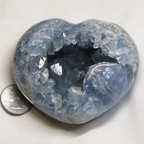 Polished Blue Celestite Heart from Madagascar