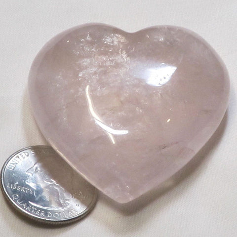 Polished Rose Quartz Crystal Heart from Brazil
