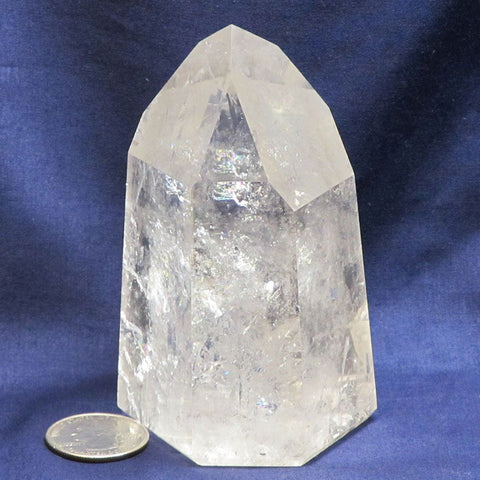 Polished Quartz Crystal Dow Point from Brazil with Rainbows