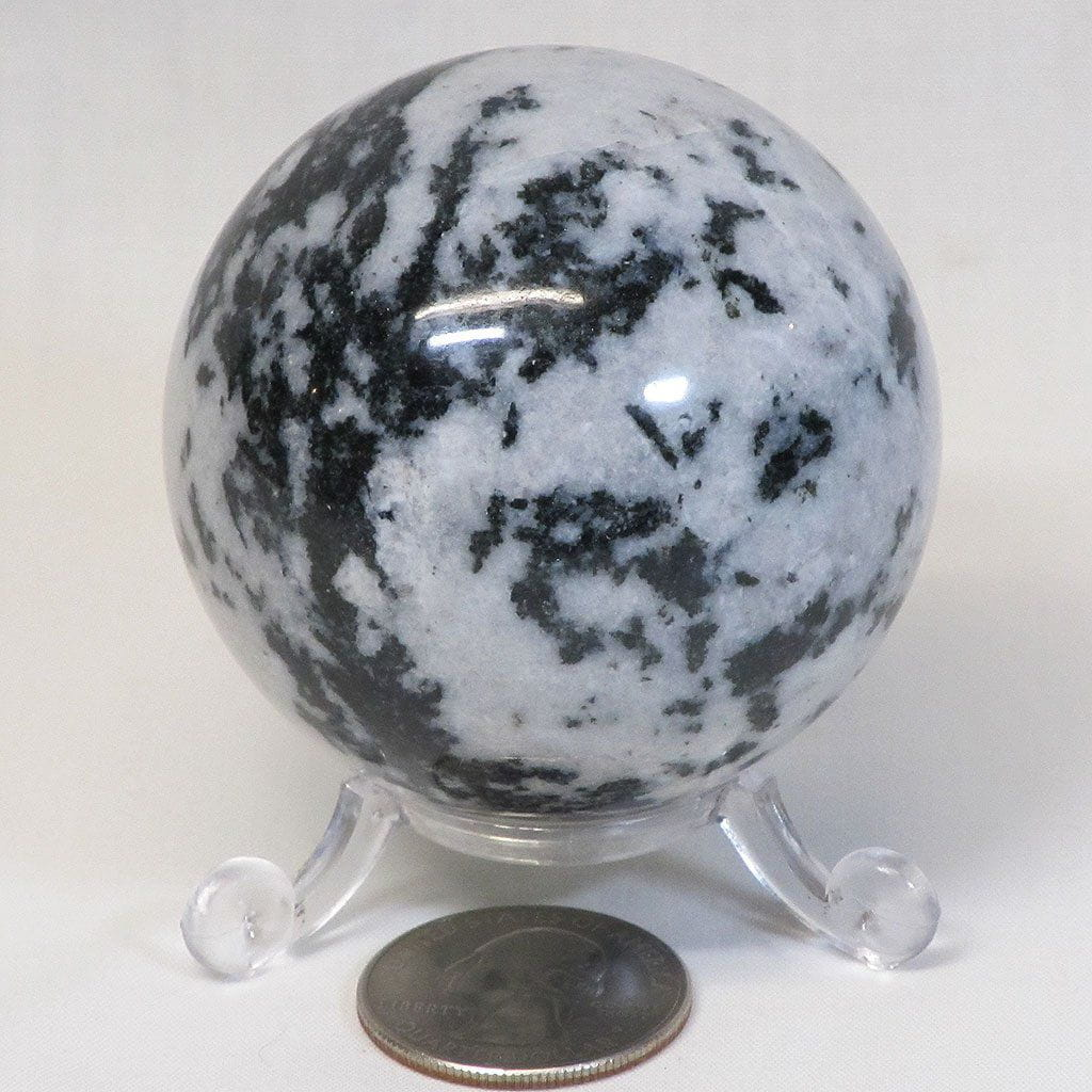 Polished Black Tourmaline in Quartz Sphere Ball from India