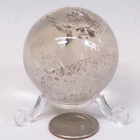 Polished Smoky Quartz Crystal Sphere Ball with Rainbows