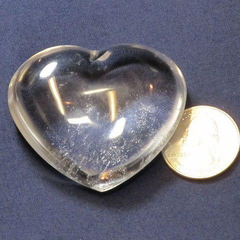 Polished Clear Quartz Crystal Heart from Madagascar