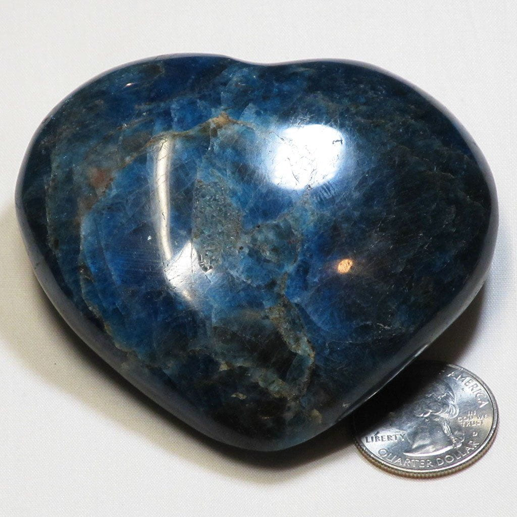 Polished Blue Apatite Heart from Madagascar