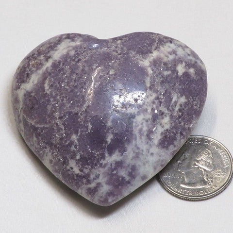 Polished Lepidolite Heart from Brazil
