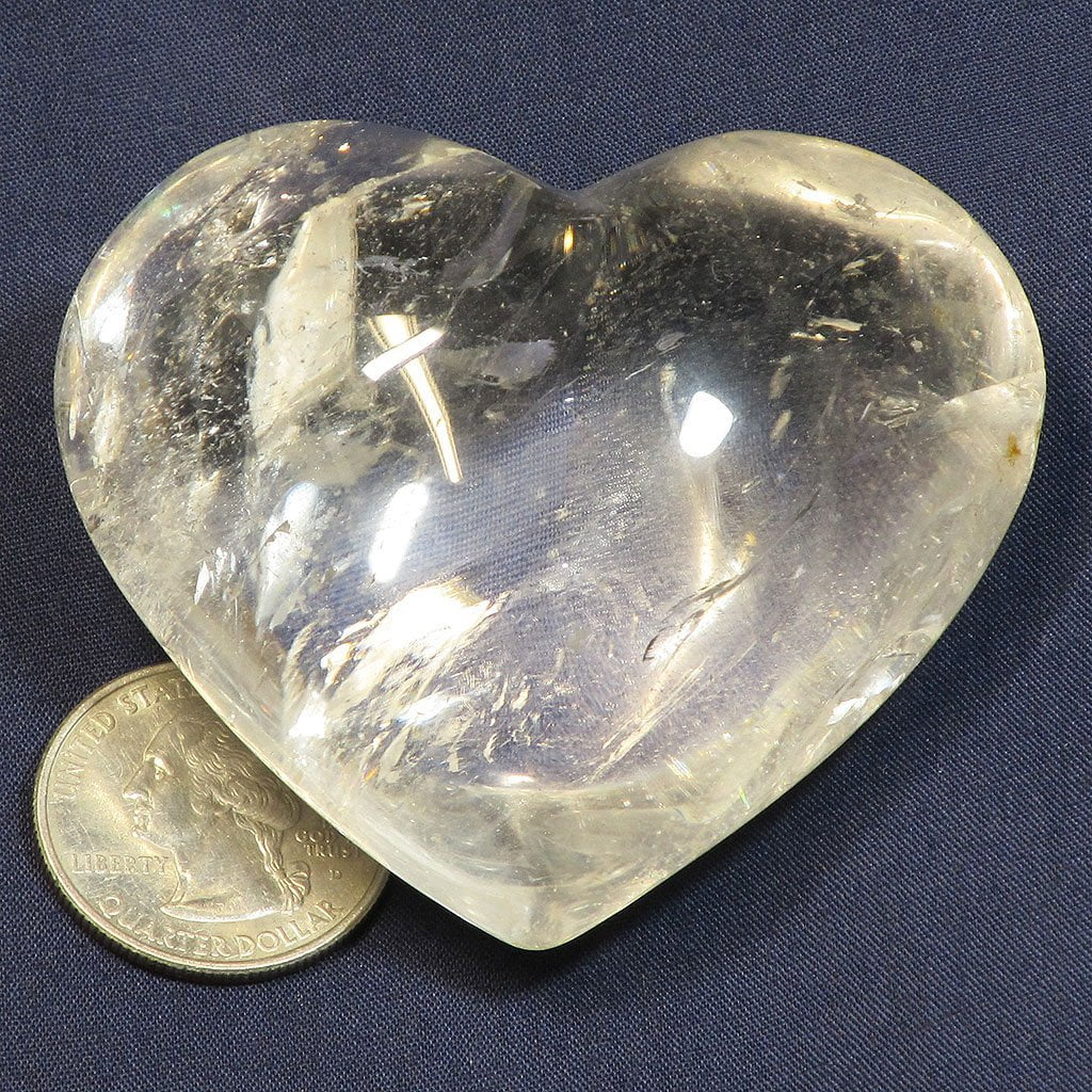 Polished Quartz Crystal Heart with Rainbow from Brazil